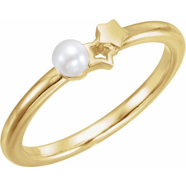 14K Yellow Freshwater Cultured Pearl Youth Double Star Ring