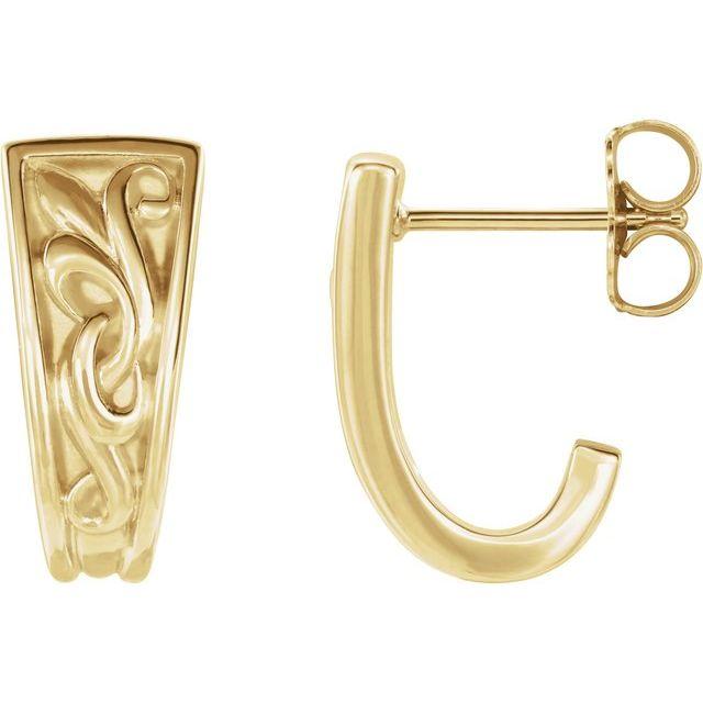 14K Yellow Vintage-Inspired J-Hoop Earrings