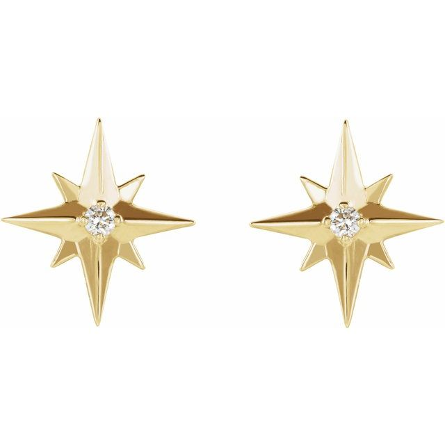 14K Yellow .03 CTW Diamond Star Earrings