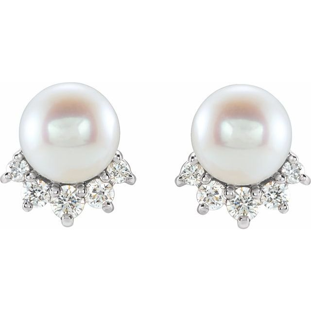 14K White Cultured White Freshwater Cultured Pearl & .08 CTW Natural Diamond Earrings