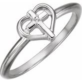 Solitaire Cross with Heart Ring