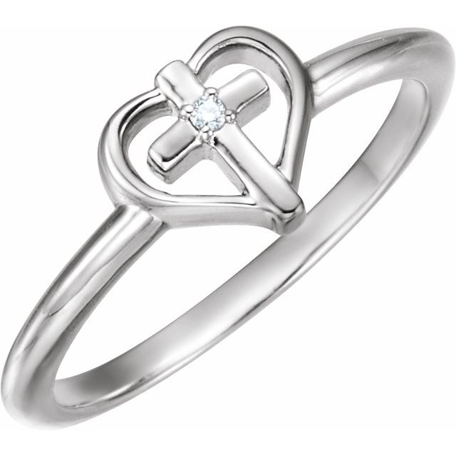 Sterling Silver .01 CT Diamond Cross with Heart Ring
