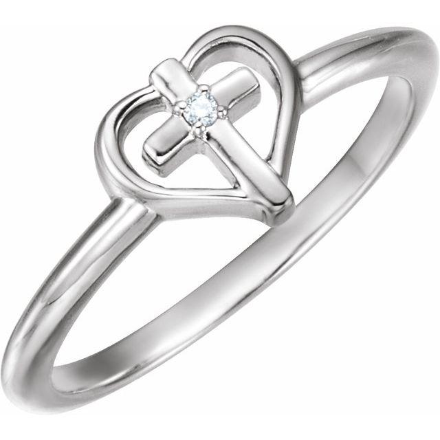 14K White .01 CT Diamond Cross with Heart Ring