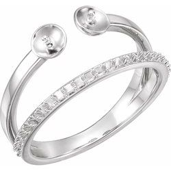 Two-Stone Accented Pearl Ring