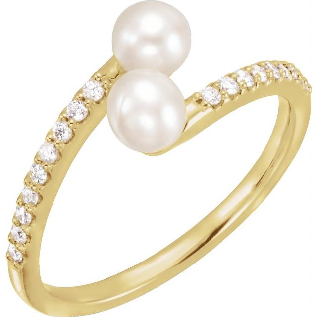 14K Yellow Cultured White Freshwater Pearl & 1/6 CTW Natural Diamond Bypass Ring