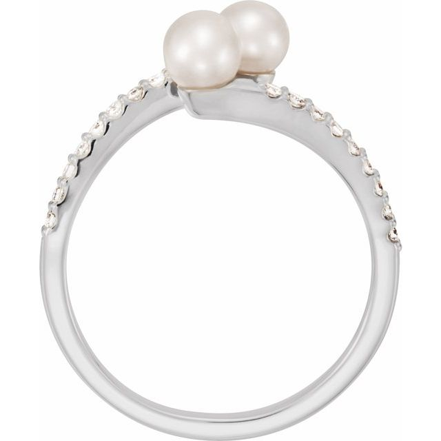 14K White Cultured White Freshwater Pearl & 1/6 CTW Natural Diamond Bypass Ring