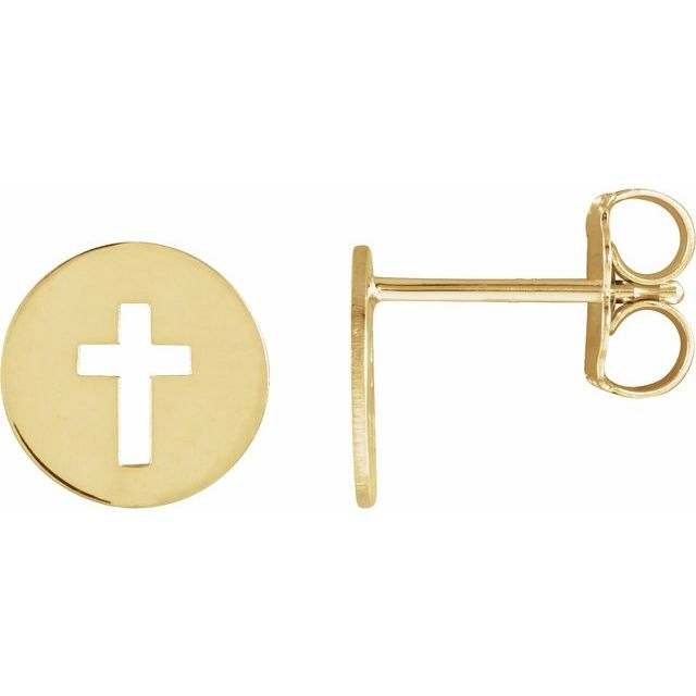 14K Yellow 8 mm Pierced Cross Disc Earrings