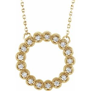 "14K Yellow 1/4 CTW Diamond Circle 16-18""  Necklace"