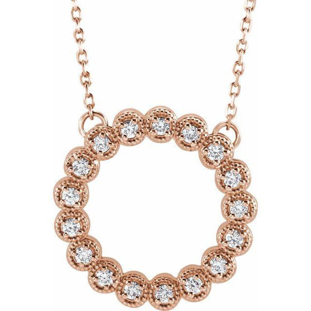 "14K Rose 1/4 CTW Diamond Circle 16-18"" Necklace"