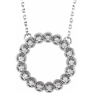 "14K White 1/4 CTW Diamond Circle 16-18"" Necklace"