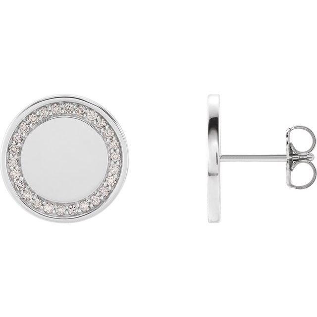 14K White 1/4 CTW Diamond Engravable Earrings