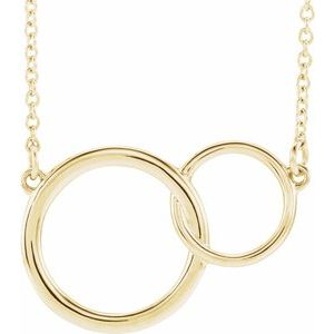 "14K Yellow 20x14 mm Interlocking Circle 16-18"" Necklace"