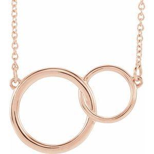 """14K Rose 20x14 mm Interlocking Circle 16-18"""" Necklace"""