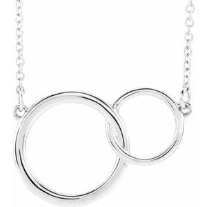 "14K White 20x14 mm Interlocking Circle 16-18"" Necklace"