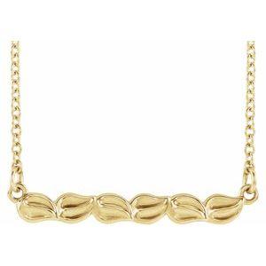 "14K Yellow Leaf Bar 16-18"" Necklace"
