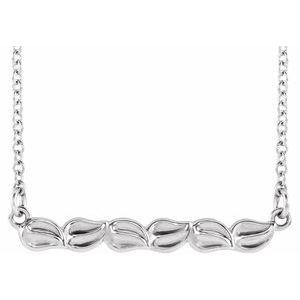 """Sterling Silver Leaf Bar 16-18"""" Necklace"""