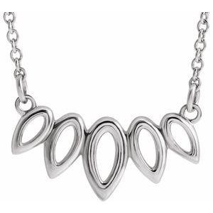 """14K White Leaf 16-18"""" Necklace"""