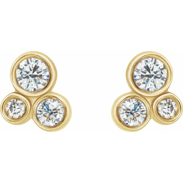 14K Yellow 1/5 CTW Diamond Geometric Cluster Earrings