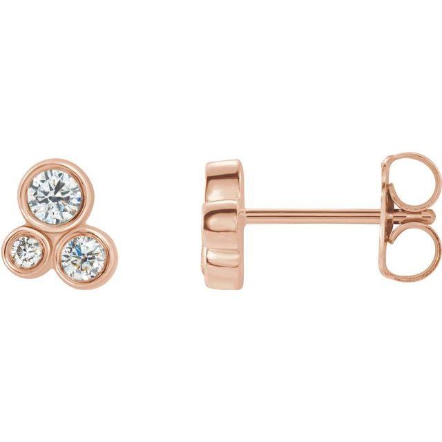 14K Rose 1/5 CTW Diamond Geometric Cluster Earrings