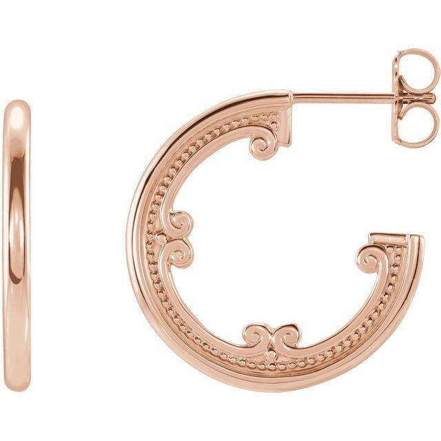 14K Rose 20 mm Vintage-Inspired Hoop Earrings