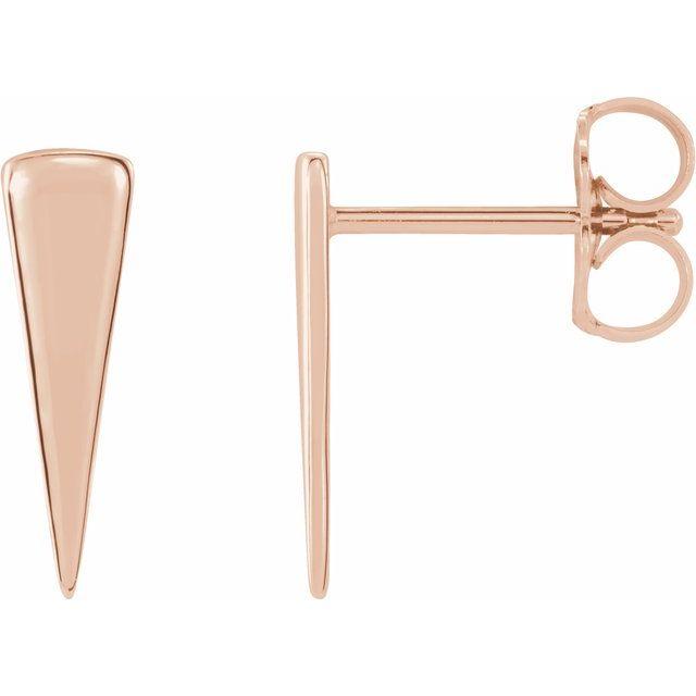 14K Rose 12x3.27 mm Triangle Earrings