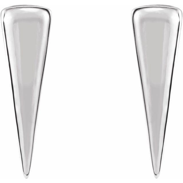 Sterling Silver 12x3.27 mm Triangle Earrings