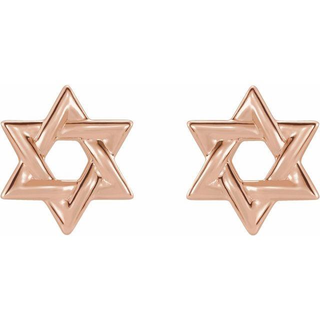 14K Rose Star of David Earrings