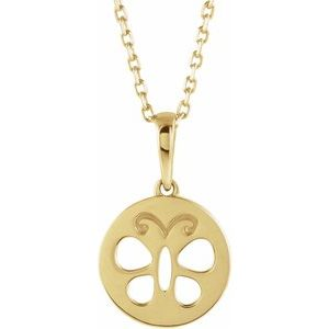 """14K Yellow Youth Butterfly Disc 15"""" Necklace"""