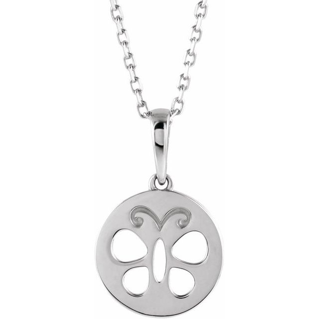 Sterling Silver Youth Butterfly Disc 15