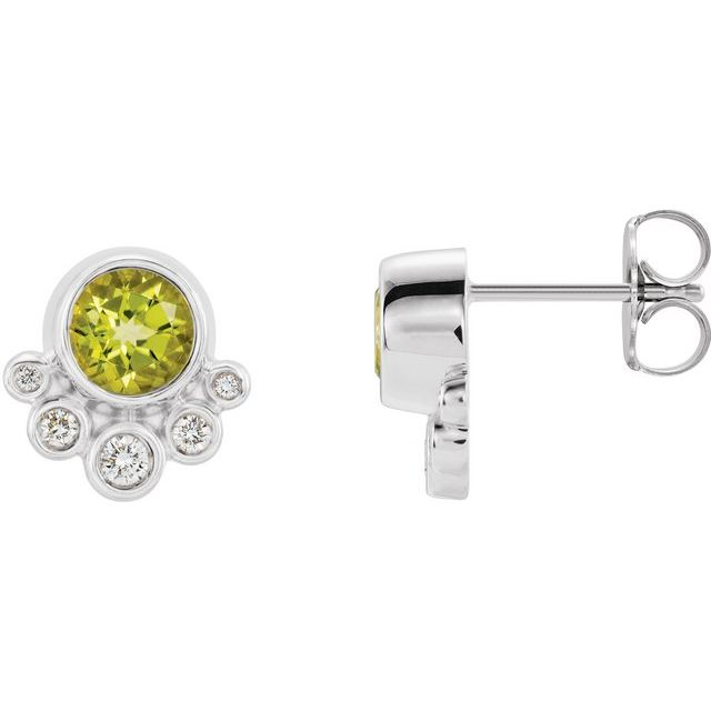 14K White Peridot & 1/8 CTW Diamond Earrings