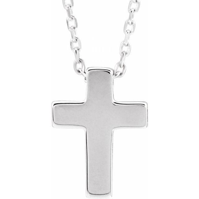 Sterling Silver Petite Cross 16-18
