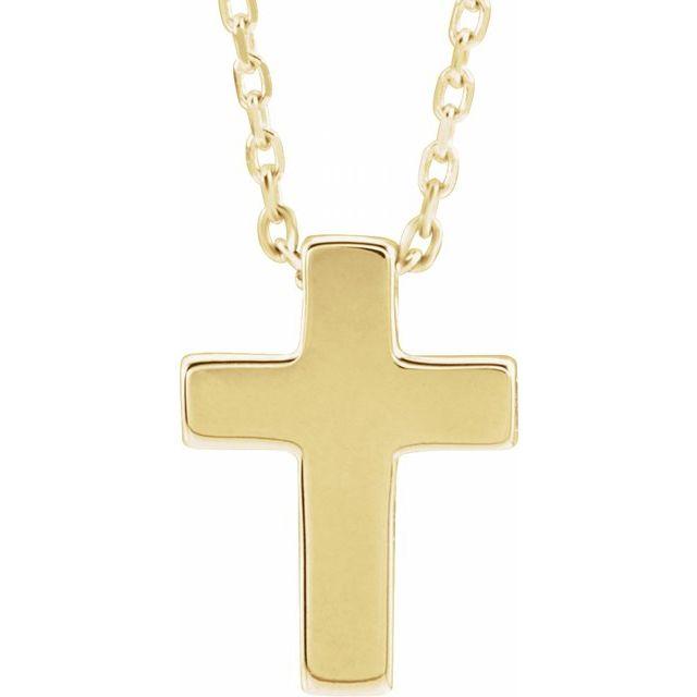 14K Yellow Petite Cross 16-18