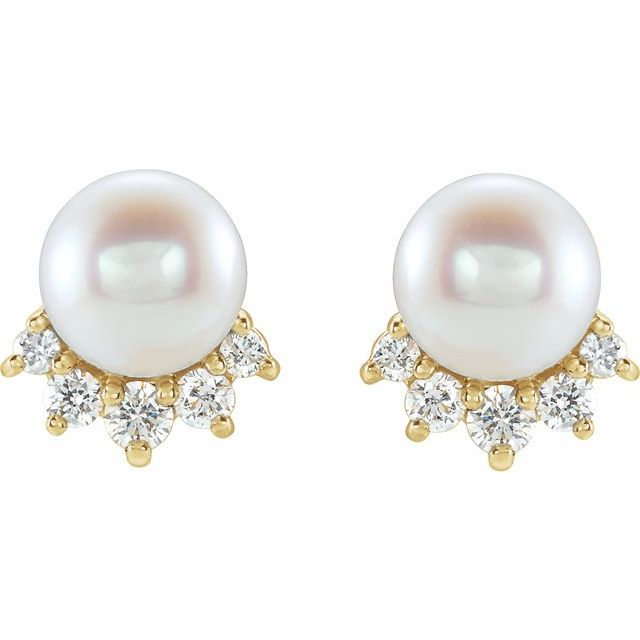 14K Yellow Cultured White Freshwater Cultured Pearl & .08 CTW Natural Diamond Earrings