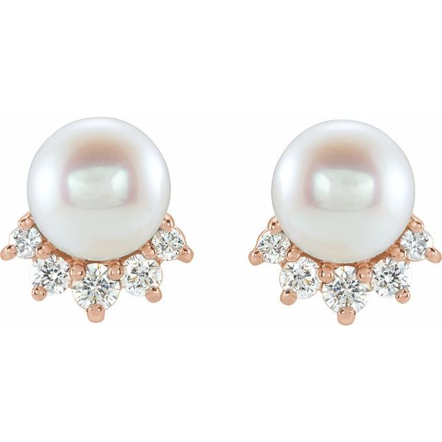 14K Rose Freshwater Cultured Pearl & .08 CTW Diamond Earrings