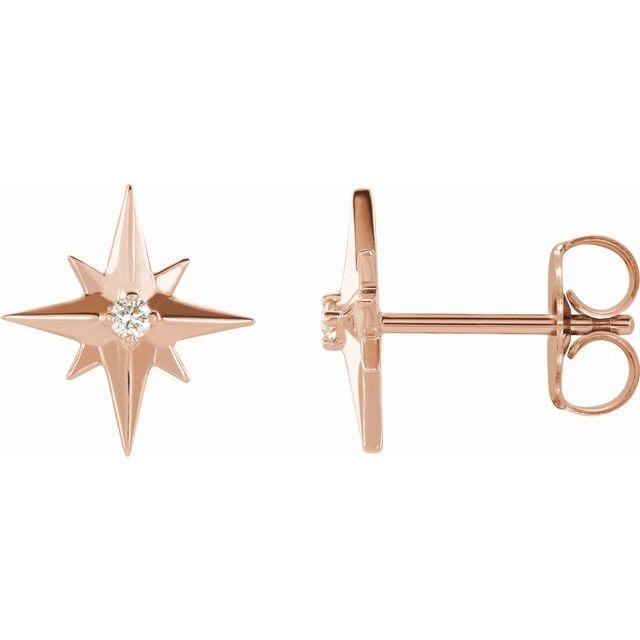 14K Rose .03 CTW Diamond Star Earrings