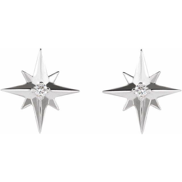 14K White .03 CTW Diamond Star Earrings