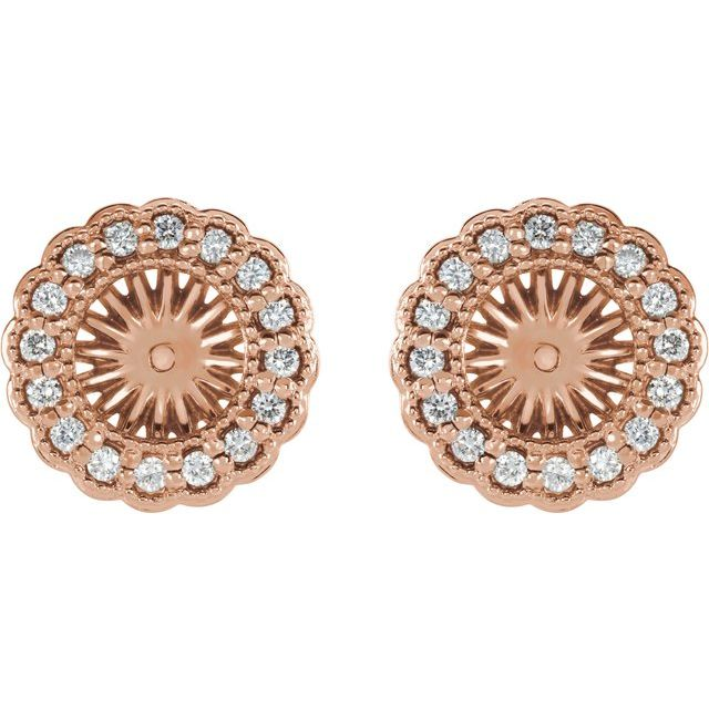 14K Rose 1/4 CTW Diamond Earring Jackets with 6 mm ID