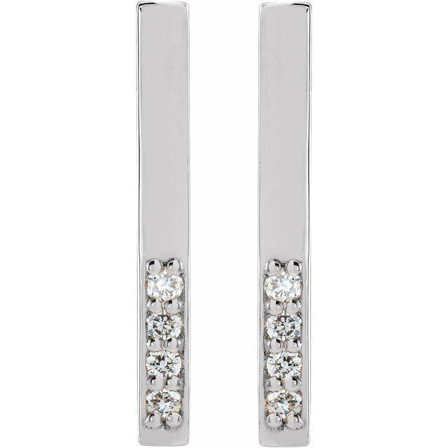 14K White .07 CTW Diamond Bar Earrings