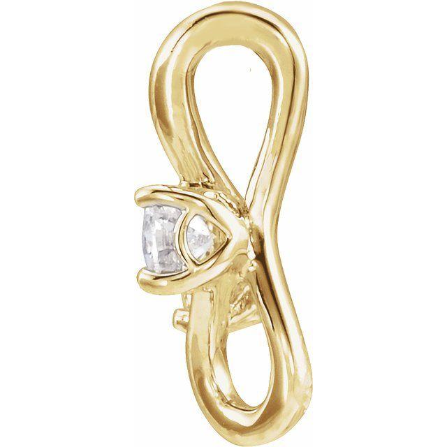 14K Yellow 1/5 CTW Diamond Two-Stone Bypass Pendant