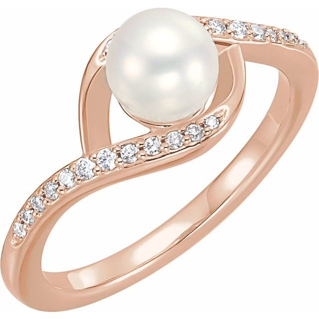 14K Rose Cultured White Freshwater Pearl & 1/8 CTW Natural Diamond Ring