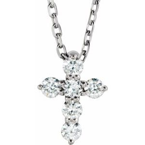 "Sterling Silver 8.7x6.6 mm 1/6 CTW Diamond Cross 16-18"" Necklace"