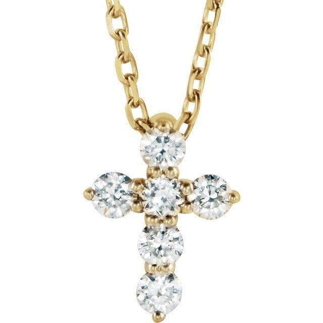 14K Yellow 8.7x6.6 mm 1/6 CTW Diamond Cross 16-18