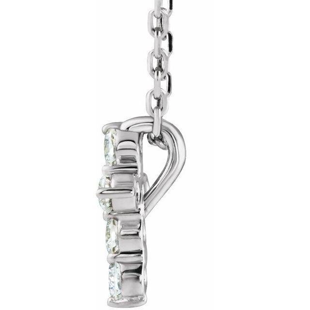 Sterling Silver 8.7x6.6 mm 1/6 CTW Diamond Cross 16-18