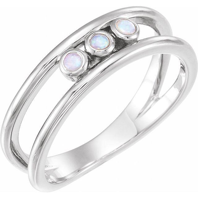14K White Opal Three-Stone Bezel-Set Ring