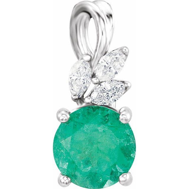 14K White Emerald & 1/10 CTW Diamond Pendant