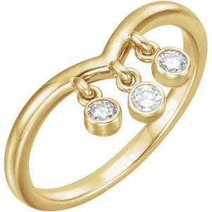 14K Yellow 1/5 CTW Diamond Three-Stone Fringe V Ring