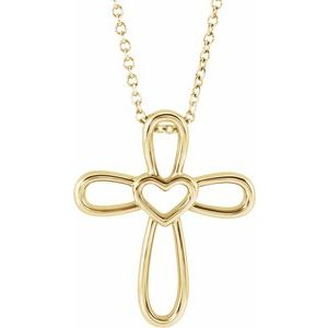 """14K Yellow Cross with Heart 16-18"""" Necklace"""