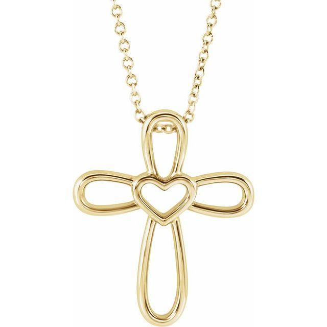 14K Yellow Cross with Heart 16-18