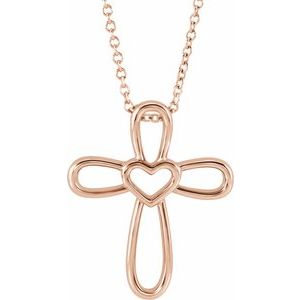 """14K Rose Cross with Heart 16-18"""" Necklace"""