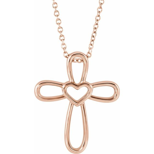14K Rose Cross with Heart 16-18